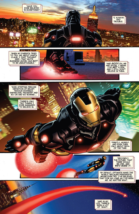 """Have you ever believed in something?""   Iron Man (2012) #1 - Gillen · Land · Leisten · Guru"