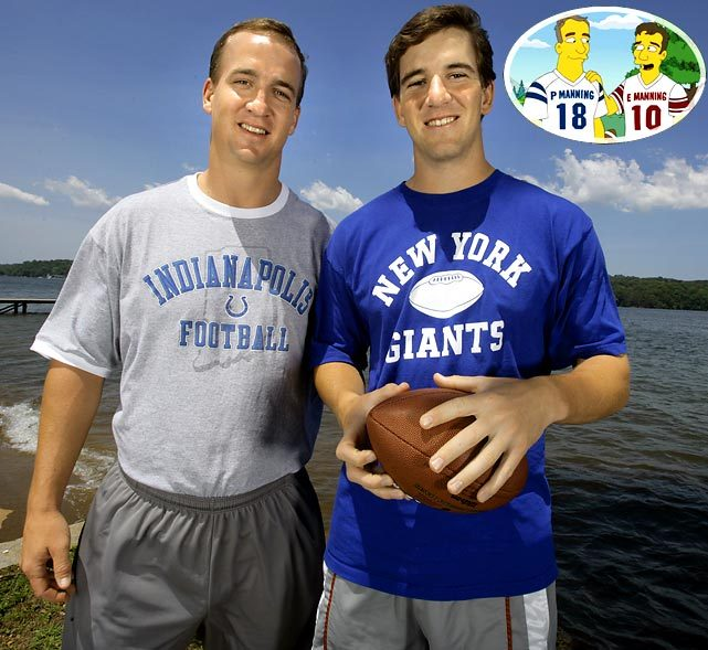 Everyone's favorite quarterbacking brothers — Peyton and Eli Manning — make an appearance on The Simpsons.  GALLERY: Sports Figures on The Simpsons