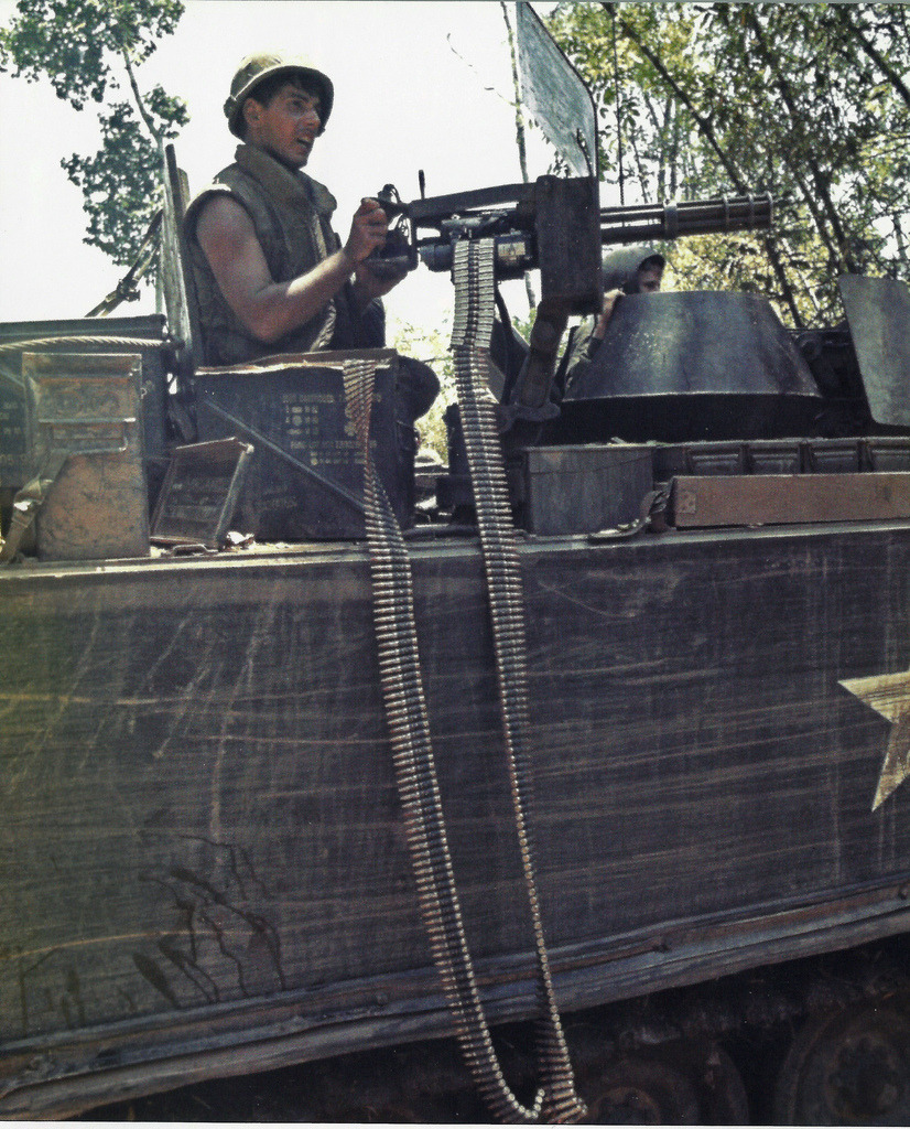 "warinvietnam:  M113 acav 2/47th Infantry ""Black Panthers"", Cambodian incursion in May 1970."