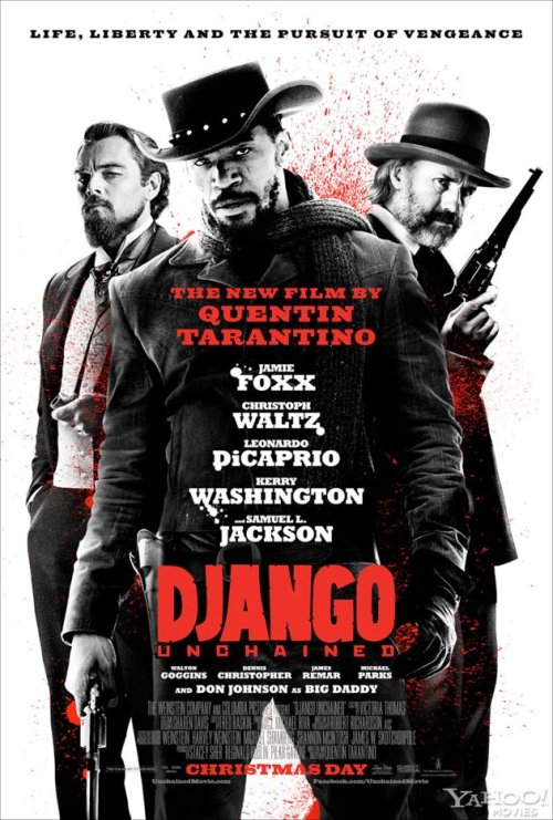 "Poster: 'Django Unchained' danhacker:  The Theatrical Poster For Quentin Tarantino's 'Django Unchained' After countless character posters, Quentin Tarantino's 'Django Unchained' finally gets it's final theatrical poster, which is pretty damn sweet. 'Django Unchained' stars Jamie Foxx, Christoph Waltz, Leonardo DiCaprio, Kerry Washington, Samuel L. Jackson, ""and Don Johnson as Big Daddy."" and opens Christmas day. via:collider"