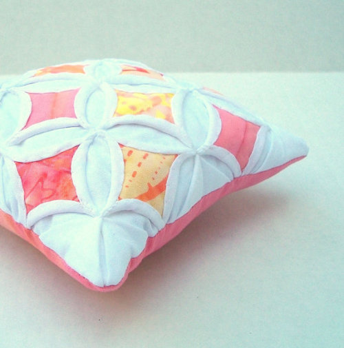 Pincushion Batik Peach Mini Cathedral Window by warmnfuzzies
