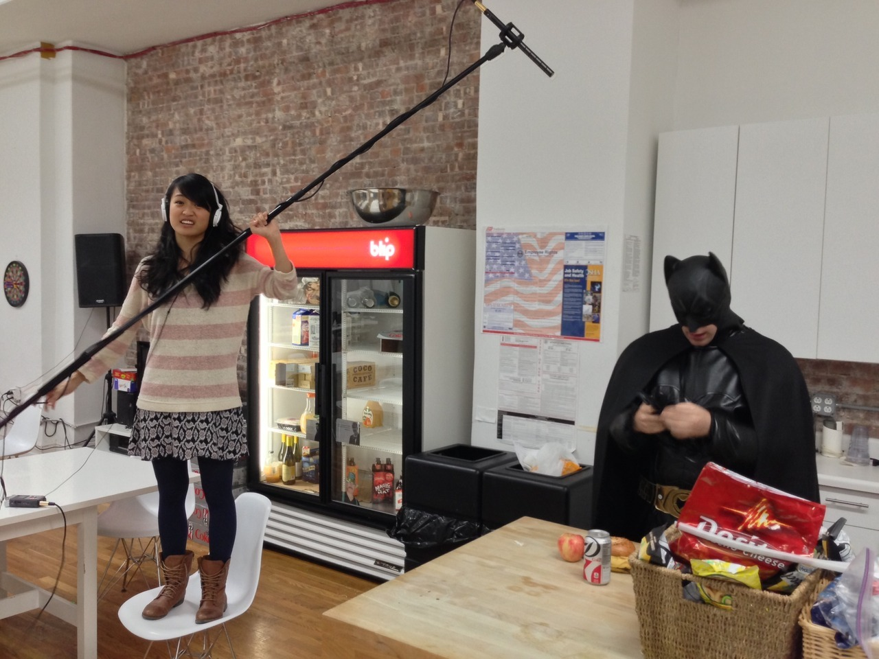 annieisms:  This one time, Batman came by and shot a segment for The Show You're Watching. We were short one on our crew that night so I stepped in as pinch-hitter boom operator. Unfortunately, I'm not very tall.  So that happened last month. You know what else happened? The last episode of The Show You're Watching we shot just before Hurricane Sandy got trapped in Brandon's apartment, which was inaccessible due to flooding. Brandon was able to get back in over the weekend and finish editing (our hero!) so tomorrow you'll get our belated episode. Fear not, children… soon!