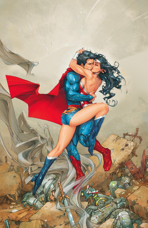 themarysue:  wondygirl:   /co/'s answer to this   Hmm.  Superman and Wonder Woman's famous kiss cover, altered ever so slightly.