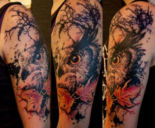 the-starlight-hotel:  Owl arm piece by Jacob Pedersen