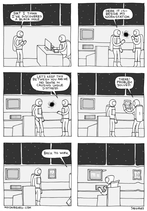 ianbrooks:  Black Hole by James Squires / Moonbeard It's all fun and games until somebody gets their electrons turned inside out.  Artist: Website / Blog