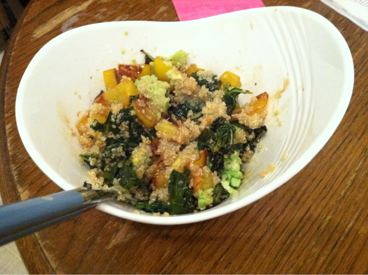 Quinoa, kale, bell pepper and avocado in a orange muscat champagne vinegar!