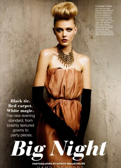 lovelostfashionfound:  Frida Gustavsson - Allure Magazine December 2011