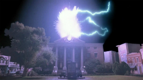 "imremembering:  Today in Hollywood History:  In ""Back to the Future,"" lightning strikes the Hill Valley Clock Tower on November 12, 1955 — giving Marty McFly and the DeLorean time machine the power they need to travel back to 1985.  via zap2it  Something to celebrate today!"