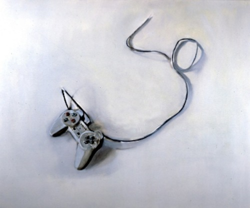 Miltos Manetas, PERIPHERALS (Playstation controller) 1997, Oil on Canvas. I have been attempting to find artists what use gaming or games within their practice. I came across Miltos Manetas, who is a visual artist, who paints electrical equipment in oil. I find his work relevant as I am looking at gaming and games. However, while his medium isn't what I was specifically looking for, I find this combination of fine art and modern technology interesting. Console controllers are a source of interactivity where as an oil painting is not. A theme within my research at the present is the interactivity of games.