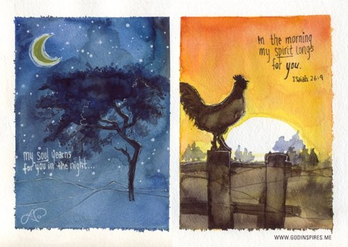 "Painted Verses Illustrations #28 & 29  ""My soul yearns for you in the night; in the morning my spirit longs for you.""  Isaiah 26:9 { GodInspires.me/paintedverses }  Buy print on Etsy →"
