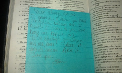 Found this in my bible today from one of my best friends when we were at church camp in mexico… #goodtimes #missit