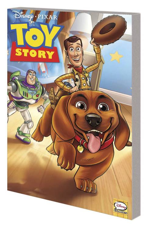 Market Monday Toy Story: Tales from the Toy Chest TP, written by Tea Orsi, art by Teresa Quezada-Geer  New adventures featuring Woody, Buzz Lightyear and the rest! Andy's new puppy, Buster, loves to play with the toys - but if the gang can't control the playful pooch, all that chewing and shaking will damage them for sure! Woody rounds up the gang to share scary stories around the campfire! Woody, Buzz, Rex and Slink explore new territory when they're mistakenly put in the attic for storage! An unexpected new friend could be their only hope for getting back to Andy's room! Woody, Buzz and Jessie join Andy at summer camp! But when Andy leaves them alone, they accidentally lose his special campsite map! The toys attempt a daring rescue mission, but can they retrieve the map in one piece before Andy gets back?