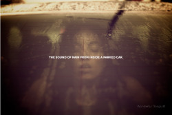 Wonderful Things #1The sound of rain from inside a parked car. via Collater.al