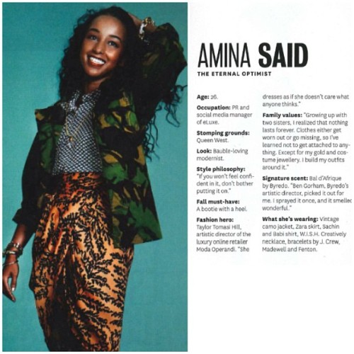 "*่ The beautiful Amina Said @aminalula was featured in Toronto Life as one of the ""25 Most Stylish"" wearing our W.I.S.H Necklace! 🙌 #torontolife #wishcreatively #fashion #accessories #jewelry #aminasaid #style #gold #dope"
