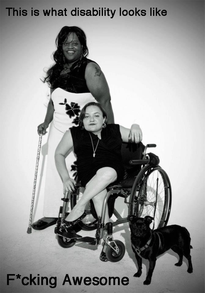 "disabledpeoplearesexy:  The wheelchair user in this is Bethany Stevens, who started the ""This is What Disability Looks Like"" project: http://bitchmagazine.org/post/tales-from-the-crip-this-is-what-disability-looks-like-feminist-magazine-facebook-disabilities-visibility Don't know who the other person is.  LOVE IT."