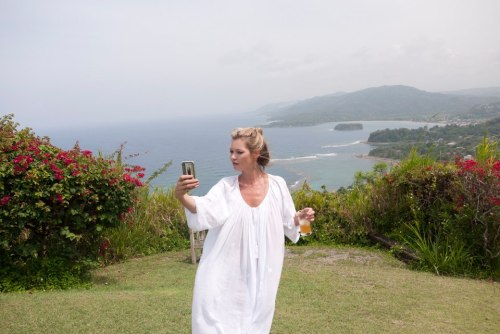 Kate Moss taking a picture of herself Lol