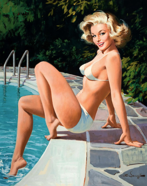 20th-century-man:  At the pool; illustration by Arthur Sarnoff, c. 1960's.