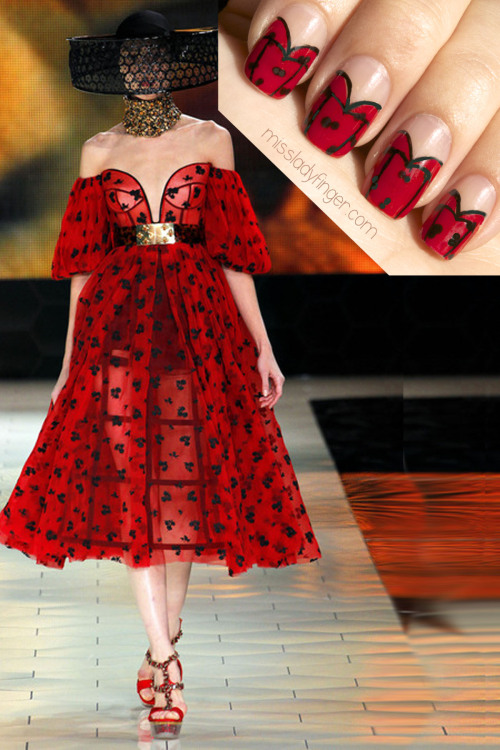 MANICURE MUSE: Alexander McQueen Spring '13 McQueen Bee and the Naked Nail, today on MLF.  Click through for polishes and the How-To get these Ladyfingers…