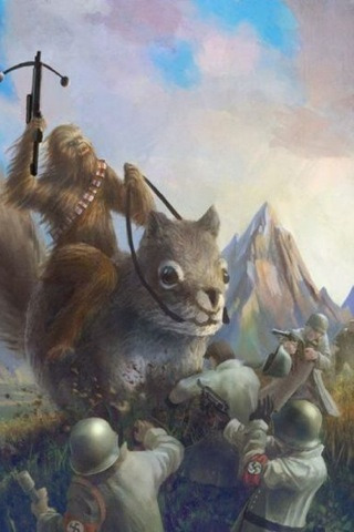 Chewbacca riding a giant squirrel fighting Nazis.   I have no idea who did this, I found it in a wallpaper app.