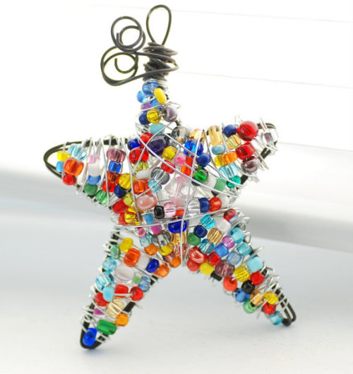 Beaded Wire Star Holiday Ornament Decoration by WildWomanJewelry
