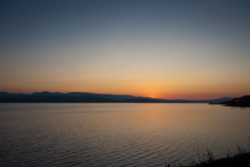 A tiny hint of sunrise over the River Clyde. Cloch Point, Scotland.