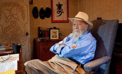 "PALM SPRINGS, Calif. — Herman Wouk, the 97-year-old author of ""The Caine Mutiny,"" ""Marjorie Morningstar"" and ""The Winds of War,"" was ready for the interview, his housekeeper announced. Go through the tidy kitchen, past the den with the ""I love you, Grandpa"" pillow on the recliner, and make a hard right. And there was Mr. Wouk, standing behind his desk with twinkling eyes, offering a sturdy handshake and declaring himself eager to chat about his latest novel. ""Let's get to it!"" he shouted cheerfully. This was the notoriously reclusive Herman Wouk? Old enough to remember Simon and Schuster as actual people (""they were as different as chalk and cheese""), Mr. Wouk has written a novel that is startling in its modernity, at least in terms of format. ""The Lawgiver,"" which arrives on Tuesday, weaves a comedic yarn using letters, text messages, memos, Variety articles, e-mails and Skype transcripts. An epistolary novel, he decided, was the only way to tackle a subject he had spent decades trying to crack: Moses. (read rest at link)  Photo - Stephanie Diani for The New York Times (via Herman Wouk on his New Book, 'The Lawgiver' - NYTimes.com)"