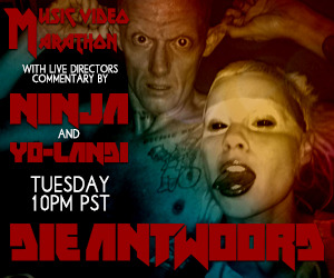 Die Antwoord LIVE Music Video Marathon Tuesday Night! Die Antwoord's Ninja and Yo-Landi will be presenting an amazing LIVE music video marathon with commentary Tuesday night, November 13, starting at 10 PM PST (1 AM EST)!  Boing Boing's Xeni Jardin will host. Join us for this very special once-of-a-lifetime event live from Meltdown Comics at http://www.stickam.com/meltdowncomics. Die Antwoord self-describe as being a fre$, futuristik, flame-throw-flow-freeking, zef rap-rave krew from da dark dangerous depths of Afrika.    Please explore more at www.dieantwoord.com!