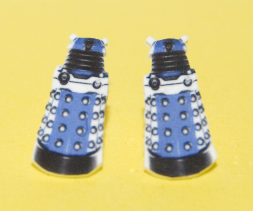 Dalek Earrings! Only 10 bucks each. Makes a great Xmas gift! Get them while they last :) http://www.etsy.com/shop/HeidiEgerDesign