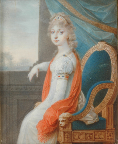 Miniature of a young Marie Therese Charlotte, the daughter of Louis XVI and Marie Antoinette, painted during her stay in Vienna after being released from the Temple Prison. It was possibly intended for her fiancee, Louis Antoine Duc d'Angouleme.