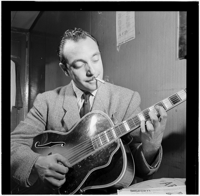 jocambrer:  [Portrait of Django Reinhardt, Aquarium, New York, N.Y., ca. Nov. 1946] (LOC) by The Library of Congress on Flickr.