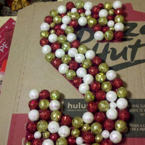 keep-calm-get-healthy:  Our Pinterest-inspired letter wreath :) #nofilter #christmas #pinterest