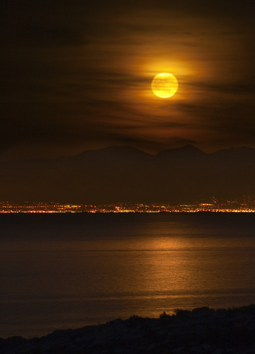 4nimalparty:  Moon over Salt Lake City (by hpebley3)