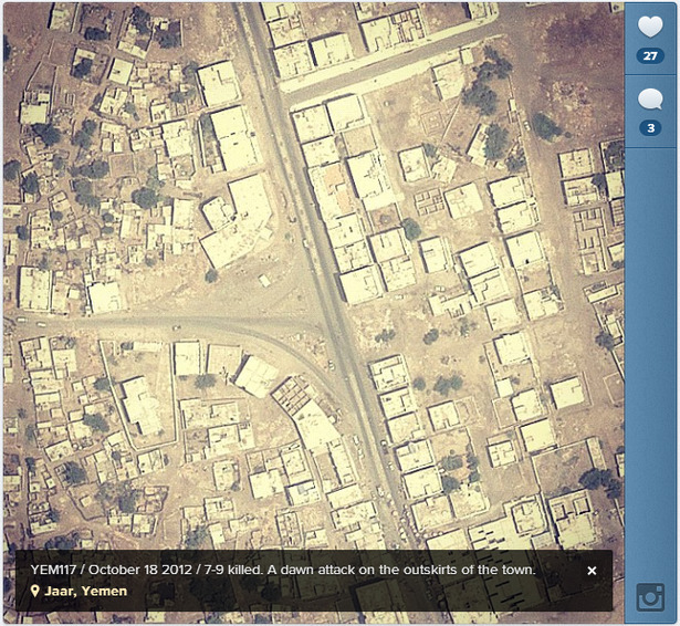 "thepeoplesrecord:  You can now view US drone strike locations on Instagram ""A new project, @Dronestagram, is doing the searching for you, marrying the images of Google Maps satellite view to the episodic, image-sharing capacities of Tumblr and Instagram. When drone strikes are reported by the Bureau of Investigative Journalism (which focuses on Pakistan, Yemen, and Somalia but not Afghanistan), writer James Bridle tracks down the locations on Google Maps and then Instagrams the picture. He annotates each drone's-eye-view with a caption about the strike, noting any known casualties."" President Obama's escalated drone wars in various countries have been condemned by various international communities & leaders as illegal & as war crimes. He has also changed the definition of 'militant' to mean any male of fighting age in a war zone to decrease the number of civilian casualties that are reported. Just today, on November 12, a US drone strike killed three civilians in eastern Afghanistan.  The US has launched about 330 drone strikes in Pakistan this year alone."