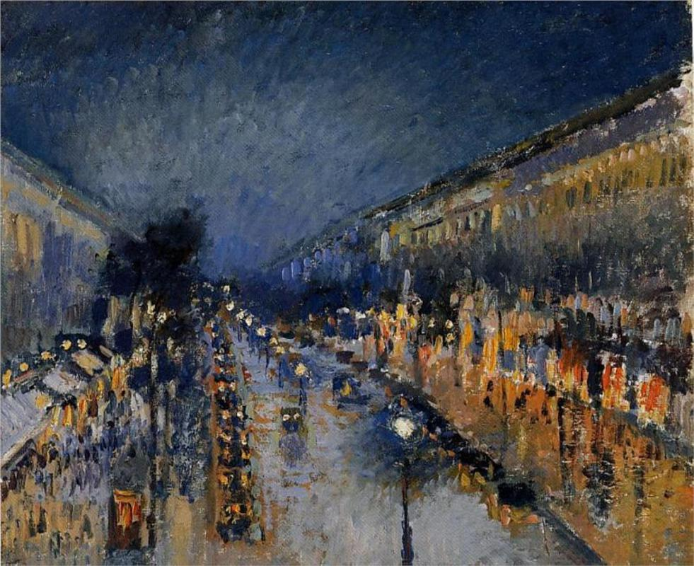 theartgeeks:  The Boulevard Montmartre at Night, 1897 ~ Camille Pissarro   This is currently the only painting that has ever made me abruptly tear up.