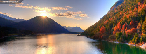 Autumn Season Sunset Over Lake Facebook Cover