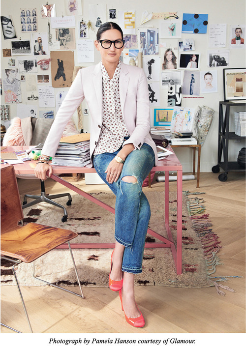 Jenna's Frames By Jauretsi Jenna Lyons of J. Crew is our fashion hero. She's got brains, taste, and knows how to turn chunky black frames into a sexy affair. This week, Glamour recognized her as one of the most inspiring women of the year (alongside other strong females such as architect Zaha Hadid and writer Lena Dunham).  If you care to take a page from Jenna's book with signature black frames, take a peek at Moscot eyewear, which has strong cuts like the Grunya frame. eBay also has a variety of black-frame eyewear to reinvent your look. Get comfortable with having brains and beauty.  (Photos: Courtesy of Pamela Hanson for Glamour)