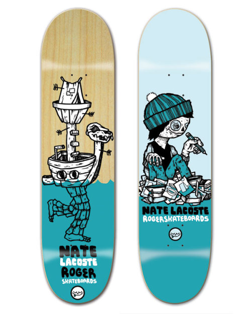 I recently designed these two graphics for Roger Skateboards to celebrate Nate LaCoste turning pro. Congrats, Nate!  Want to read an interview I conducted with Todd Falcon? Yeah? Okay.  Want to see what the inside of Okay Mountain looks like right now? Yeah? Okay.  Want to see a shoe I recently worked on with adidas? Yeah? Okay.  Peace out.