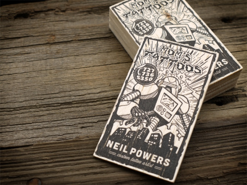 "Mom's Tattoos Balsa Wood Letterpress Business Cards MikeGalore letterpress business cards on 3/32"" balsa wood - art direction and layout by Print & Grain - original artwork created by Neil Powers http://flic.kr/p/czFezh"