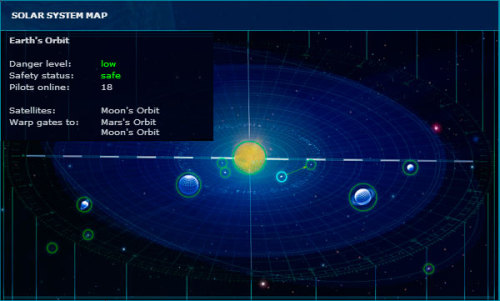 "Now the map of the solar system will always be on hand at each pilot! Get latest version to your ship computer. ADVANTAGES: Notification about the current status and the level of security in the selected location; Scheme coming warp gateways that will bring you to your destination. For calling map use the hot key ""M"" or map icon. Official website: www.casus-belli.com"