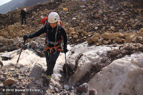 August 2012 Mt. Ararat Expedition: Crossing an icy rock field.View more Donna D'Errico on WhoSay