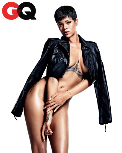 gq:  Rihanna: Obsession of the Year In 2012, men straight lost their minds over this woman—Chris Brown's crazy neck tattoo, Brown and Drake's nightclub riot. She drove the rest of us wild, too. And that was all before Rihanna dropped the sexiest, most outrageous album of the year.  Hot. Damn.