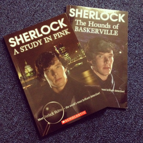 Sherlock: Scholastic Reader Books We've come across these teaching guides published by Scholastic and based on the BBC Series. Reading aids (Level 4 Upper-intermediate: B2) rather than actual storybooks, they condense each episode into easy to read chapters as well as containing magazine style fact files and self study activities. Both books are officially licenced by Hartswood Films. Sherlock: A Study in Pink and Audio Pack Sherlock: The Hounds of Baskerville and Audio Pack