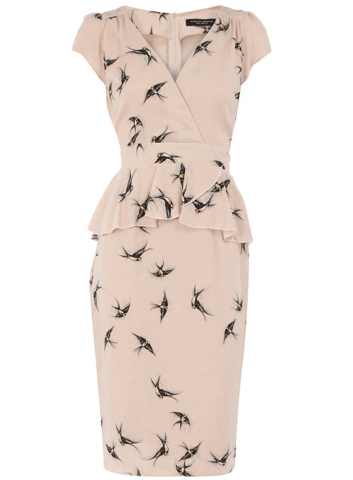 Nude Smudge Swallow Print Peplum Dress by Dorothy Perkins