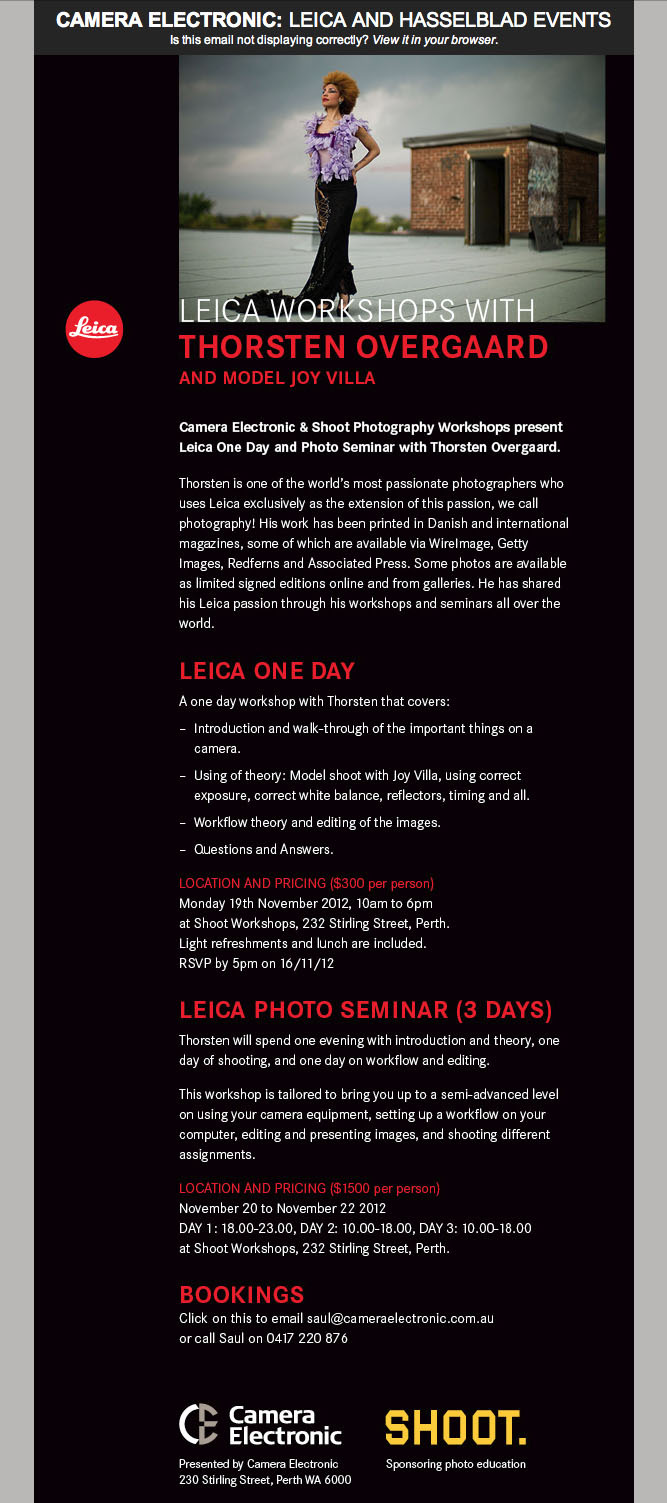 #Leica #Photography JOIN the Thorsten Overgaard Photography Workshop in Perth with model Joy Villa. Touch the image to read more