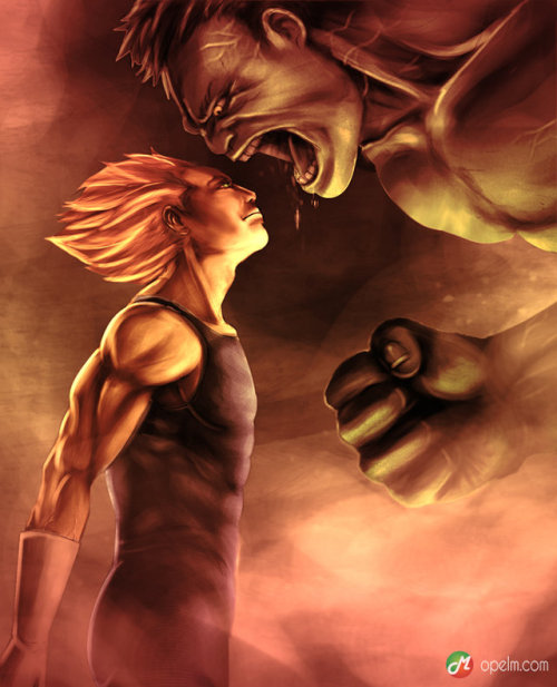 piensoparahumanos:  pura-mierda:  mother of god…  Hulk vs vegeta