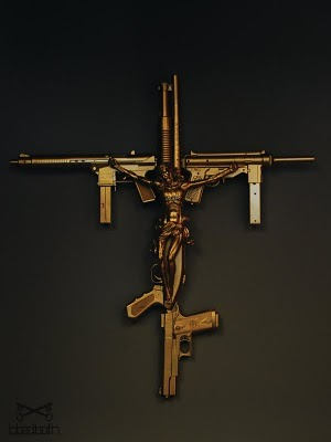 land-lord:  jesus gun cross #blackscale