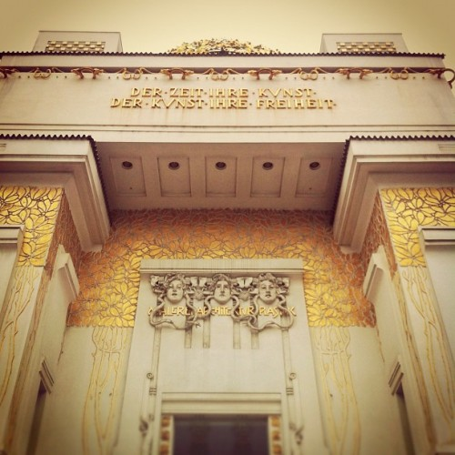 "The Vienna Secession (also known as the Union of Austrian Artists, or Vereinigung Bildender Künstler Österreichs) was formed in 1897 by a group of Austrian artists who had resigned from the Association of Austrian Artists, housed in the Vienna Künstlerhaus. This movement included painters, sculptors, and architects. The first president of the Secession was Gustav Klimt, and Rudolf von Alt was made honorary president. Its official magazine was called ""Ver Sacrum"". http://en.m.wikipedia.org/wiki/Vienna_Secession#section_1 #vienna #austria #secession #architecture #artists #gustavklimt #klimt #building #gold #paint #gate #entrance #art #house #jugendstil #ottowagner (at Secession)"