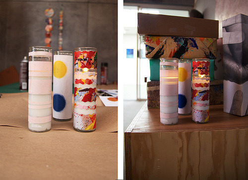 Giggles And Glue Guns: DIY WRAPPED CANDLEby Stephanie Morris http://bit.ly/TXEVDO