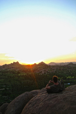 Hampi Sunset on Flickr.Via Flickr: my friend, Janis, and his sunset in Hampi, India