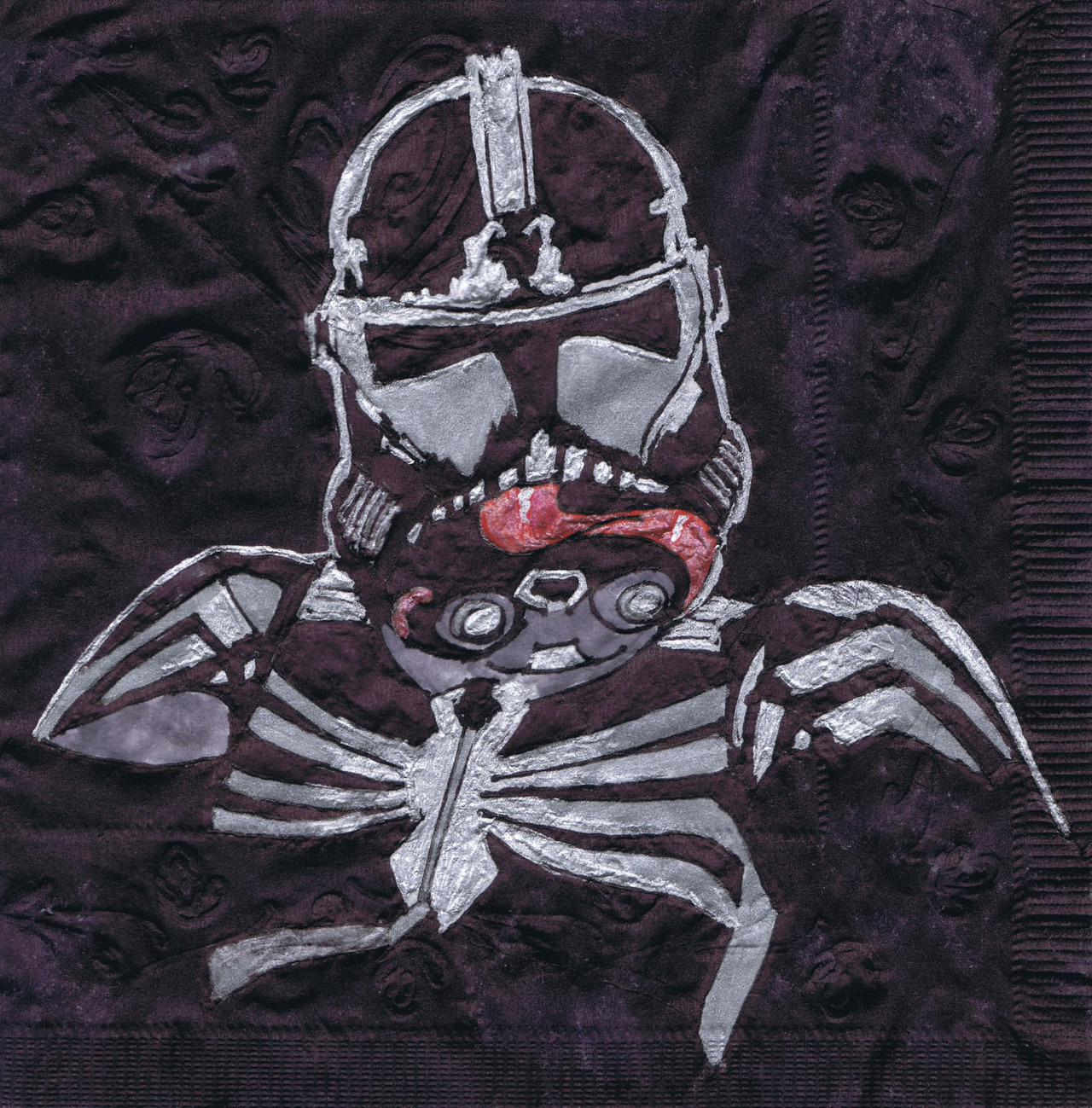 Spidey-trooper.  New napkin art.